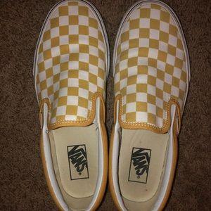 Yellow checkered slip on vans women's size 8.5